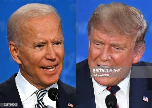 TOPSHOT This combination of pictures created on September 29 2020 shows Democratic Presidential candidate and former US Vice President Joe Biden and...