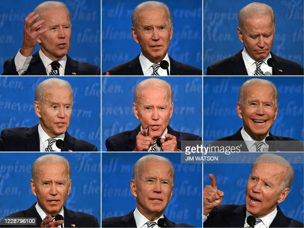 This combination of pictures created on September 29, 2020 shows Democratic Presidential candidate and former US Vice President Joe Biden during the...
