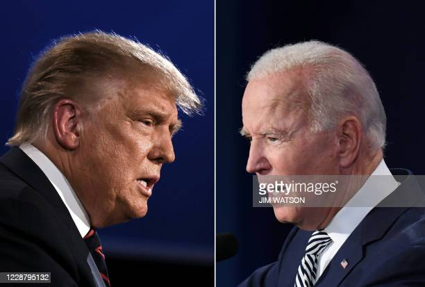 TOPSHOT This combination of pictures created on September 29 2020 shows US President Donald Trump and Democratic Presidential candidate former Vice...