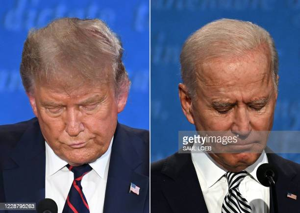 This combination of pictures created on September 29, 2020 shows US President Donald Trump and Democratic Presidential candidate and former US Vice...