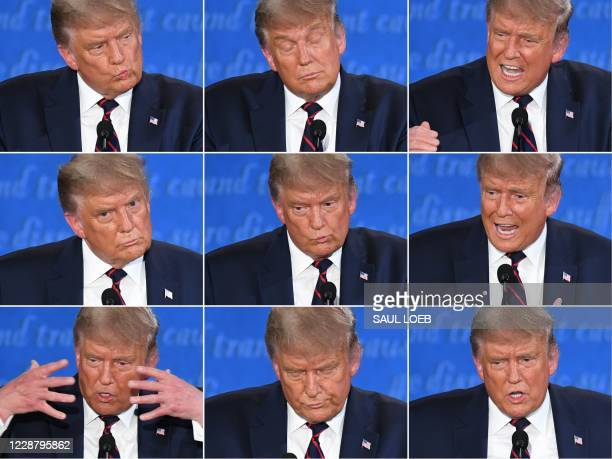 TOPSHOT This combination of pictures created on September 29 2020 shows US President Donald Trump during the first presidential debate with...