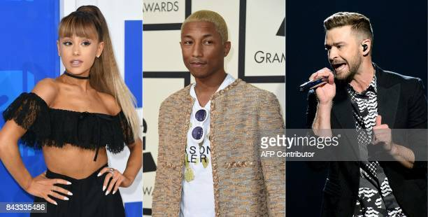 This combination of pictures created on September 6 2017 shows file photos of singer Ariana Grande at the 2016 MTV Video Music Awards on August 28 in...