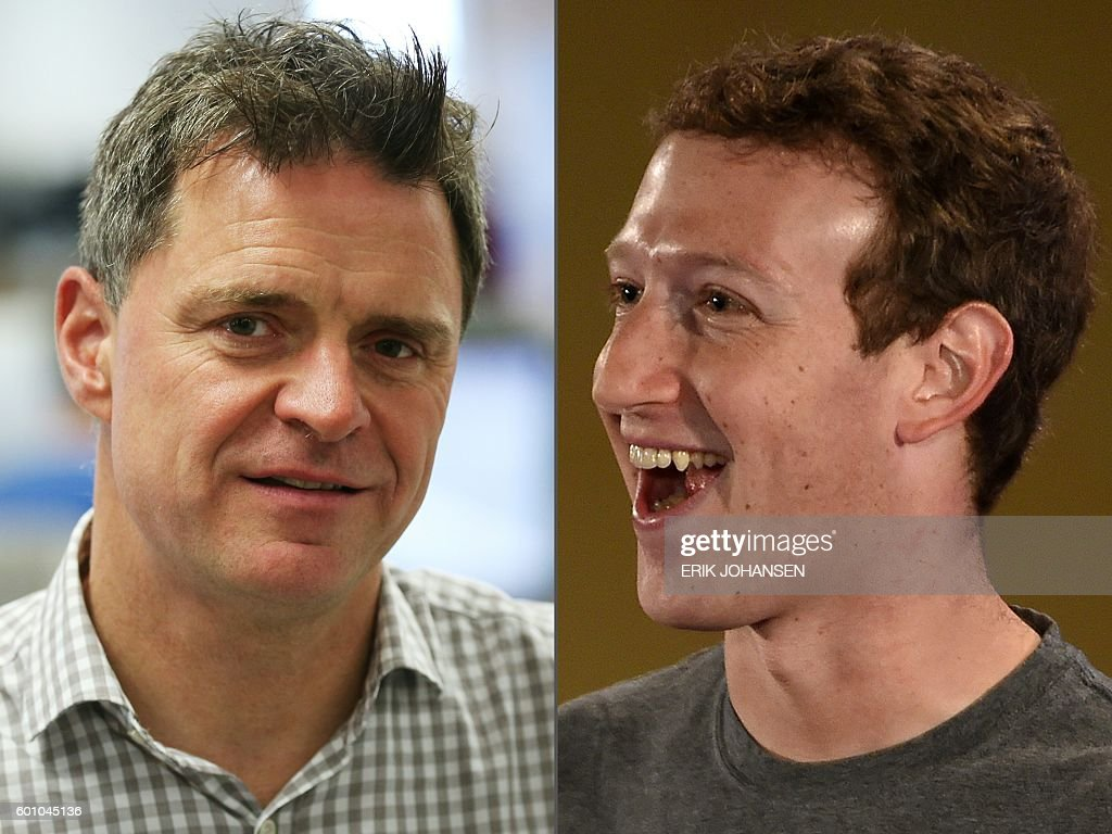 This combination of pictures created on September 9, 2016 shows Espen Egil Hansen (L), editor-in-chief and CEO of Norwegian newspaper Aftenposten (September 9, 2016 in Oslo) and Facebook chief executive and founder Mark Zuckerberg (October 28, 2015 in New Delhi). Espen Egil Hansen wrote an open letter to founder and CEO of Facebook, Mark Zuckerberg, accusing him of threatening the freedom of speech and abusing power after deleting the iconic picture from the Vietnam war, taken by Nick Ut, of a young girl running from napalm bombs. Scanpix AND AFP / Erik JOHANSEN AND MONEY SHARMA / Norway OUT
