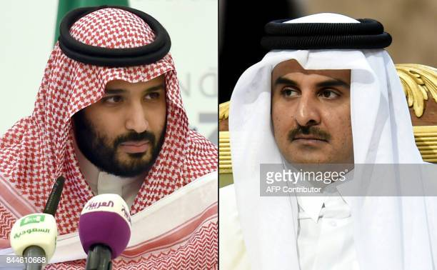 This combination of pictures created on September 9 2017 shows thenSaudi Defence Minister and Deputy Crown Prince Mohammed bin Salman during a press...