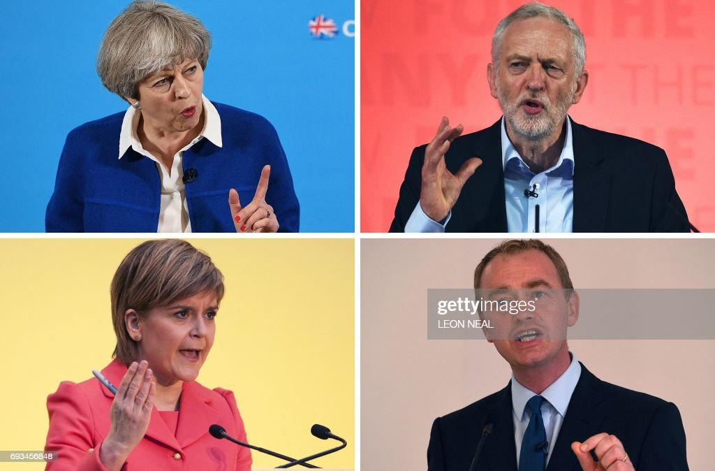 TOPSHOT - This combination of pictures made on June 6, 2017, shows Britain's Prime Minister and Leader of the Conservative party Theresa May (top L) on May 30, 2017 in Wolverhampton, Britain's main opposition Labour Party leader Jeremy Corbyn (top R) on May 22, 2017 in Kingston-upon-Hull, Scotland's First Minister and leader of the Scottish National Party Nicola Sturgeon (bottom L) on April 20, 2015 in Edinburgh, and Liberal Democrats leader Tim Farron (bottom R) on May 26, 2017 in Manchester. Britain goes to the polls to vote in a general election on June 8. PHOTO