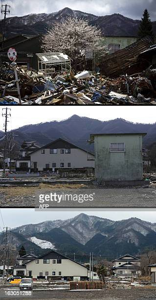 This combination of pictures shows a cherry blossom tree amongst tsunami devastation in the city of Kamaishi Iwate prefecture on April 20 2011 and...