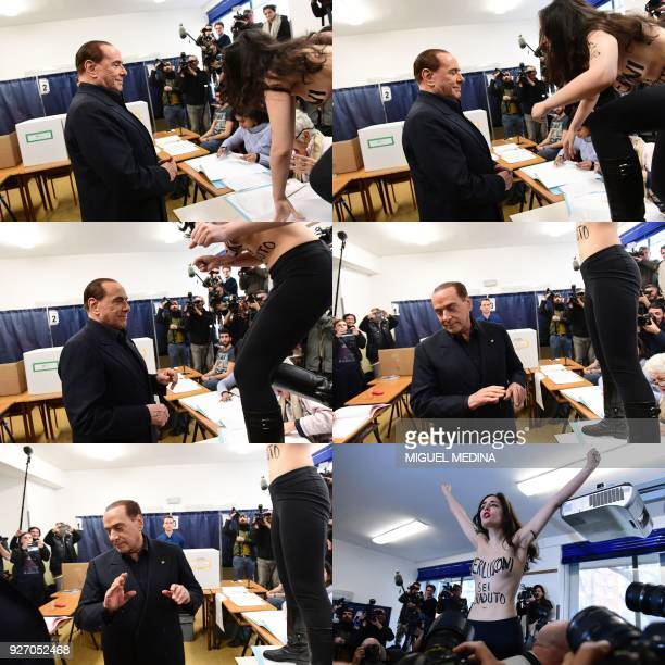 This combination of pictures shows a member of the Femen activists jumping on a table in front of Silvio Berlusconi, leader of right-wing party Forza...