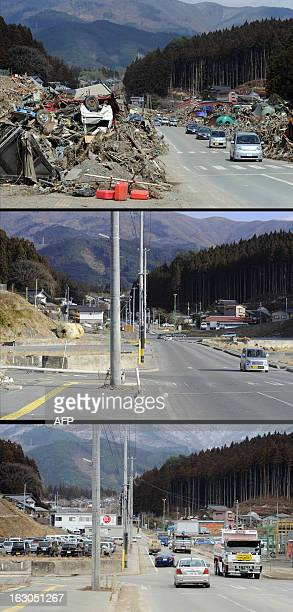 This combination of pictures shows a tsunami hit area of Rikuzentakata Iwate prefecture on March 29 2011 and the same area on January 15 2012 and...