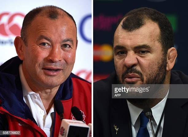 This combination of pictures shows Australia's head coach Michael Cheika talking during a press conference on October 31 2015 at Twickenham stadium...