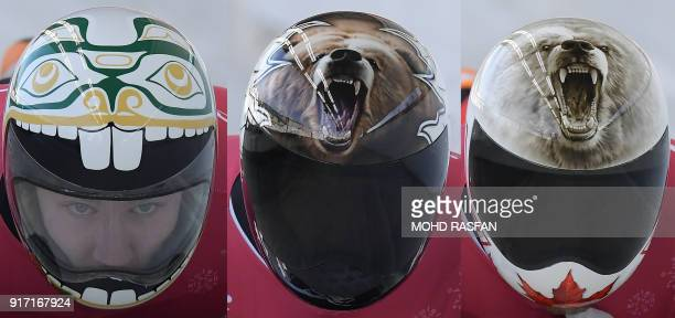 TOPSHOT This combination of pictures shows Canada's skeleton helmets from Kevin Boyer Dave Greszczyszyn and Barrett Martineau during the men's...