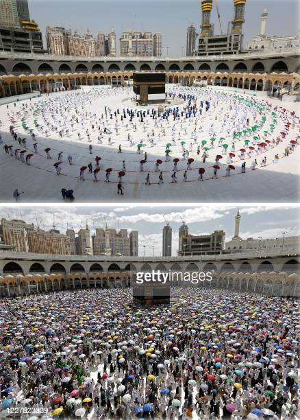 TOPSHOT This combination of pictures shows Muslim pilgrims holding coloured umbrellas along matching coloured rings separating them as a COVID19...