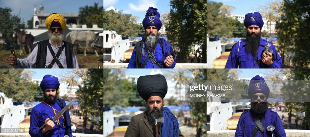 This combination of pictures shows Nihangs Sikh men who belong to the armed Sikh order posing during the Hola Mohalla festival in Anandpur Sahib on...