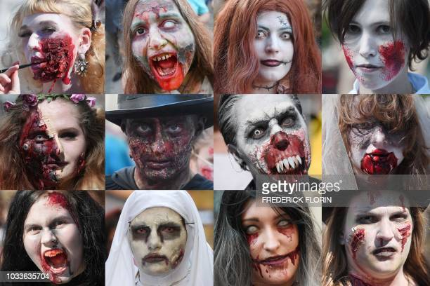 TOPSHOT This combination of pictures shows people dressed as zombies take part in the Zombie Walk event on September 15 2018 in the eastern French...