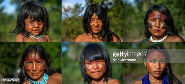 This combination of pictures shows portraits of Suwerika Waiapi, Eriana Aromaii and Sykyry Waiapi; Kurija Waiapi, Ruwana Waiapi and Siurima Waiapi at...