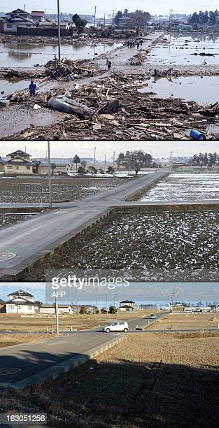This combination of pictures shows residents walking on roads covered with mud and debris in a tsunami hit area of Sendai Miyagi Prefecture on March...