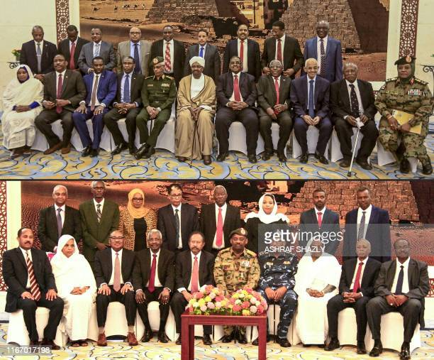 This combination of pictures shows Sudan's ex-President Omar al-Bashir sitting in a group photo with members of his then-cabinet after taking oath at...