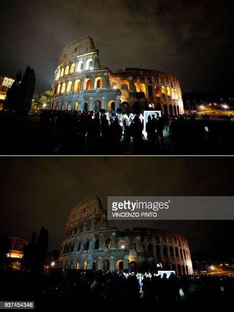 This combination of pictures shows the ancient Colosseum normal lighted Colosseum in the dark during the Earth Hour initiative in Rome on March 24,...