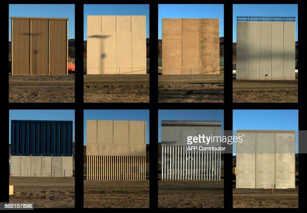 This combination of pictures shows the eight prototypes of US President Donald Trump's USMexico border wall being built near San Diego in the US seen...