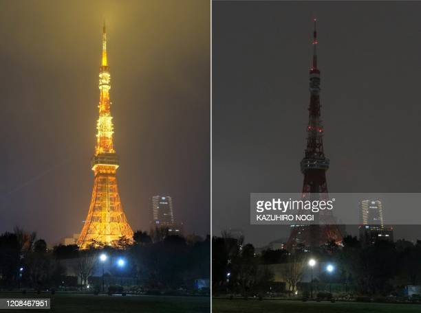 This combination of pictures shows the landmark Tokyo Tower illuminated and with lights turned off to mark the Earth Hour campaing in Tokyo on March...