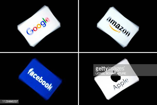 This combination of pictures shows the logos of the GAFA's, named after US multinational technology and Internet-related services company Google, US...
