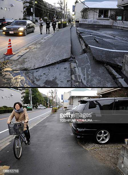 This combination of pictures shows the pavement ruptured by the earthquake in Urayasu Chiba Prefecture on March 11 2011 and the same area on January...