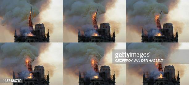 This combination of pictures shows the steeple and spire engulfed in flames collapsing as the roof of the Notre-Dame de Paris Cathedral burns on...