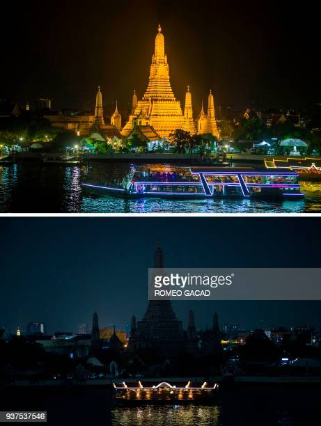 TOPSHOT This combination of pictures shows tourist boat passes the Wat Arun a major Buddhist temple and landmark on March 24 2018 as many landmarks...