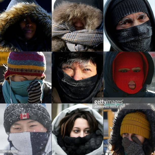 This combination of pictures taken 30 and 31st of January and created on January 31 2019 shows pedestrians protecting their faces from the cold in...