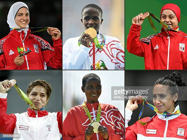 This combination of pictures taken during the Rio 2016 Olympic Games in Rio de Janeiro and created on August 22 2016 shows Egypt's Hedaya Wahba with...