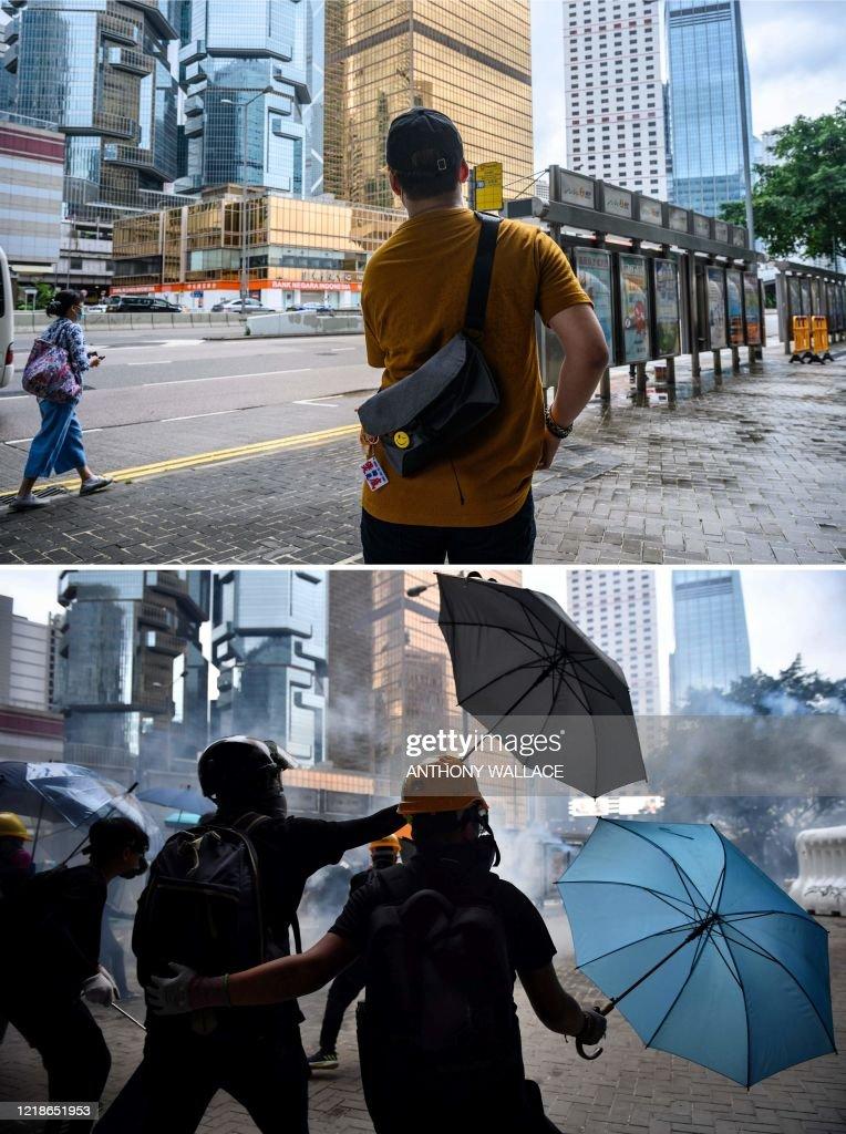 COMBO-HONG KONG-CHINA-POLITICS-UNREST-ANNIVERSARY-FRONTLINER : News Photo