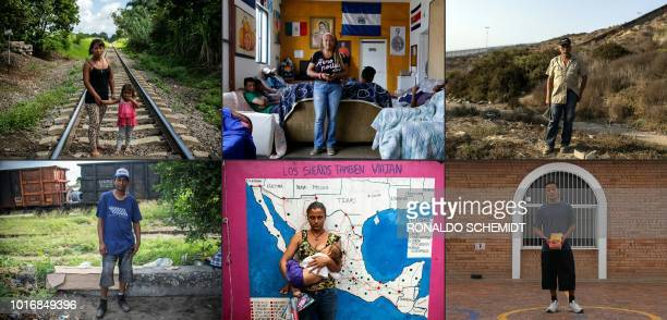 TOPSHOT This combination of pictures taken on August 10 2018 and created on August 14 2018 shows Honduran migrant Sandra and her daughter Venezuelan...