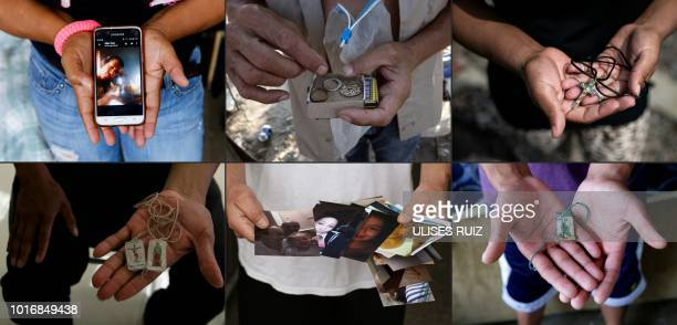 TOPSHOT This combination of pictures taken on August 10 2018 and created on August 14 2018 shows migrants holding their most valuable belongings...