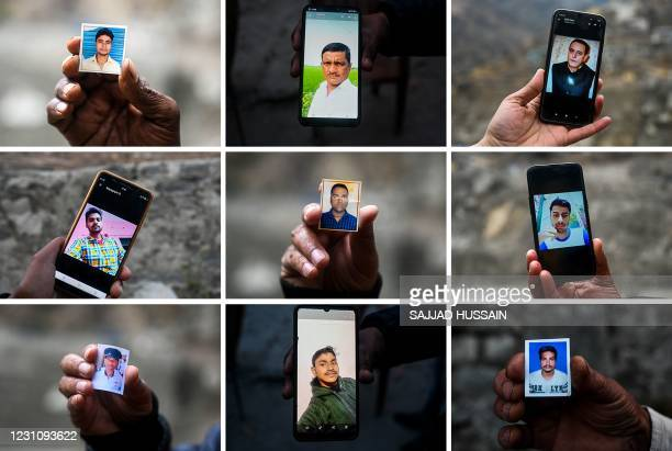 This combination of pictures taken on February 10, 2021 shows relatives holding pictures and mobile phones with pictures of missing workers at the...