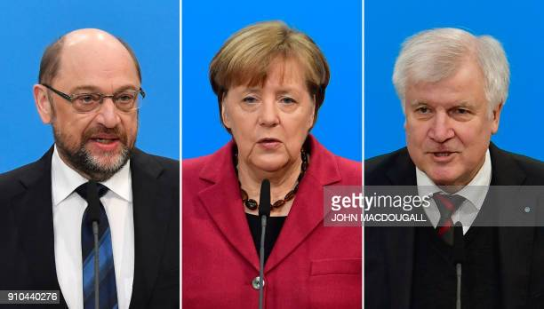 This combination of pictures taken on January 26 2018 in Berlin shows social democratic SPD party leader Martin Schulz German Chancellor Angela...