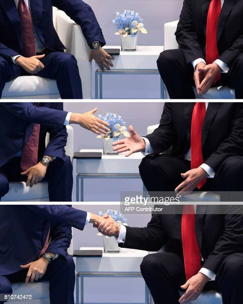 This combination of pictures taken on July 8 2017 shows US President Donald Trump and Japan's Prime Minister Shinzo Abe shaking hands during a...
