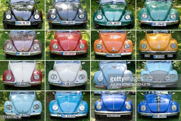 This combination of pictures taken on May 1 2019 shows vintage Volkswagen beetle cars on display at the 36th Maikaefertreffen in Hanover northern...
