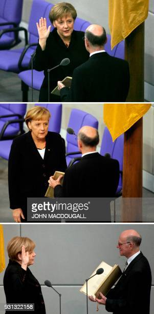 This combination of three pictures created on March 13 2018 shows German Chancellor Angela Merkel being sworn in as new Chancellor by Parliament...