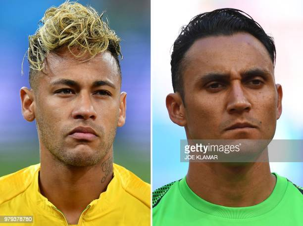This combination of two files pictures created on June 20 2018 shows Brazil's forward Neymar in RostovOnDon on June 17 2018 and Costa Rica's...