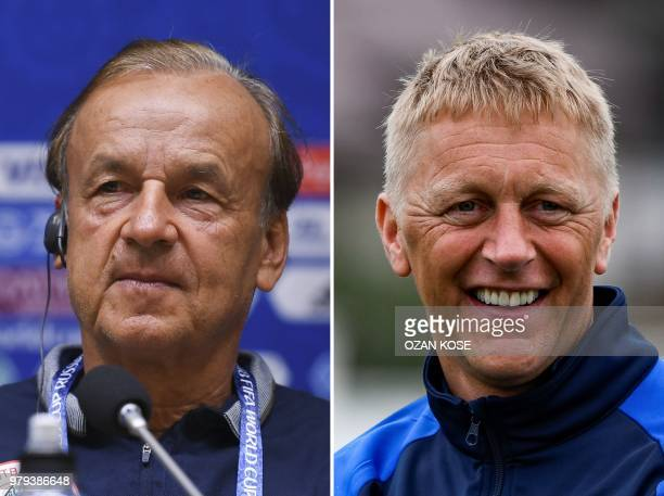 This combination of two files pictures created on June 20, 2018 shows Nigeria's German coach Gernot Rohr in Kaliningrad on June 15, 2018 and...