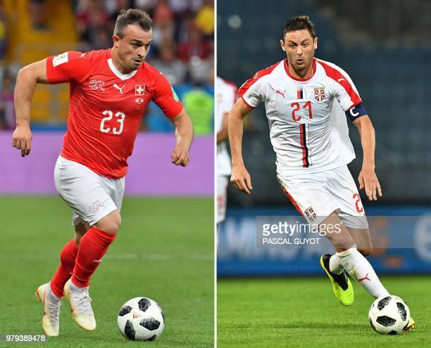 This combination of two files pictures created on June 20 2018 shows Switzerland's forward Xherdan Shaqiri in RostovOnDon on June 17 2018 and...
