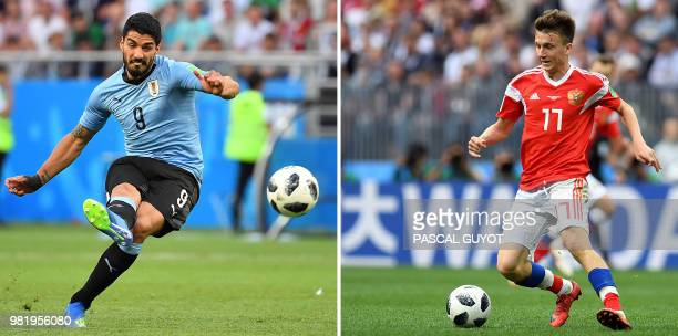 This combination of two files pictures created on June 23 2018 shows Uruguay's forward Luis Suarez in RostovOnDon on June 20 2018 and Russia's...