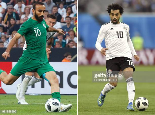 This combination of two files pictures created on June 23 2018 shows Saudi Arabia's foward Mohammad AlSahlawi in Leverkusen western Germany on June 8...
