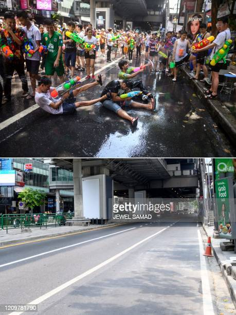 This combination photo created on April 13, 2020 shows revellers using toy water guns to spray at one another as they celebrate the Buddhist New...