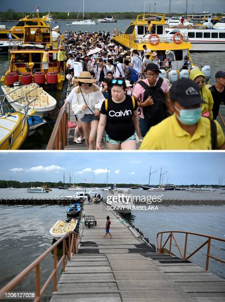 This combination photo created on March 8, 2020 shows Chinese tourists arriving from Nusa Penida in Denpasar on Indonesia's resort island of Bali on...