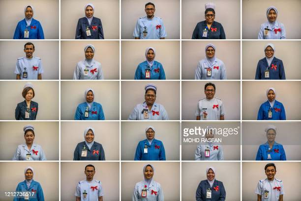 TOPSHOT This combination photo created on May 12 2020 shows matrons staff nurses and sisters of the Salayang Hospital posing for pictures during...