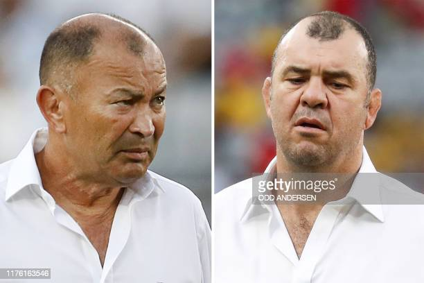 This combination photo created on October 16 2019 shows England's head coach Eddie Jones before the Japan 2019 Rugby World Cup Pool C match between...
