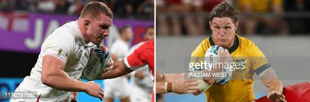 This combination photo created on October 16 2019 shows England's flanker Sam Underhill during the Japan 2019 Rugby World Cup Pool C match between...