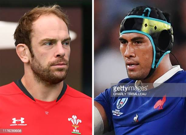 This combination photo created on October 16 2019 shows Wales' lock Alun Wyn Jones attending the captain's run training session for the Japan 2019...