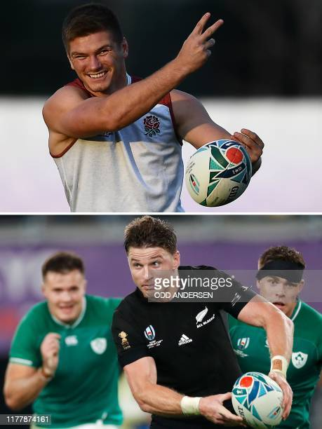 This combination photo created on October 24 2019 shows England's flyhalf Owen Farrell taking part in a training session for the Japan 2019 Rugby...