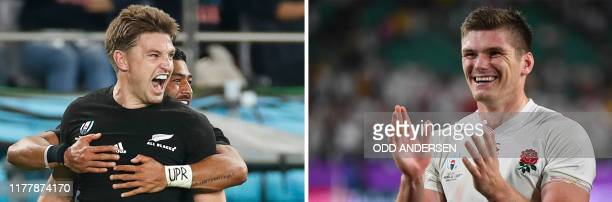 This combination photo created on October 24 2019 shows New Zealand's full back Beauden Barrett celebrating scoring a try during the Japan 2019 Rugby...